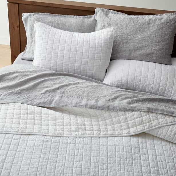 Warm White Belgian Flax Linen Quilt King - Crate and Barrel