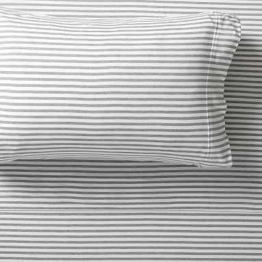 Favorite Tee Striped Sheet Set, Queen, Heathered Light Gray/White - Pottery Barn Teen