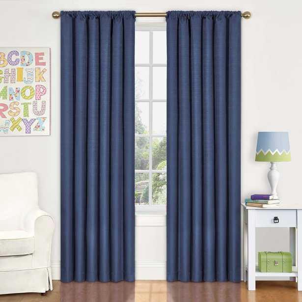 Eclipse Kendall 95 in. L Polyester Curtain in Denim (Blue) - Home Depot