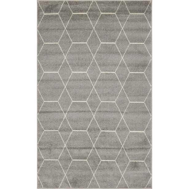 StyleWell Trellis Frieze Geometric Dark Gray 6 ft. x 9 ft. Area Rug, Dark Gray/Ivory - Home Depot