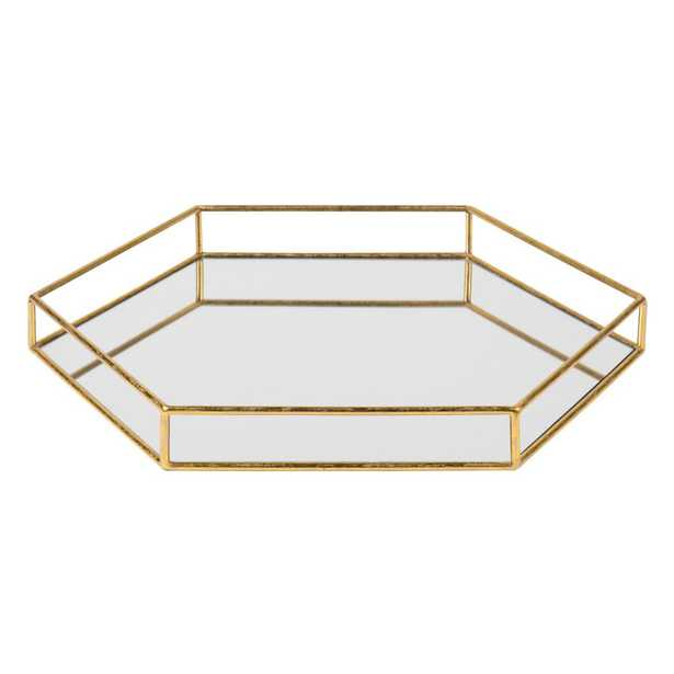 Kate and Laurel Felicia Gold Decorative Tray - Home Depot