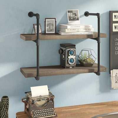 Wyndham 2 Industrial Pipe Wall Shelf - Wayfair