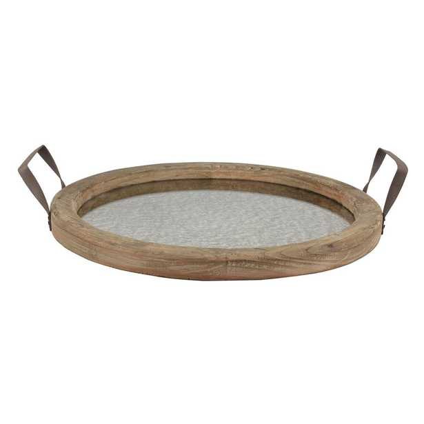 13.5 in. x 15.5 in. Rustic Brown Wood Tray with Distressed Mirror - Home Depot