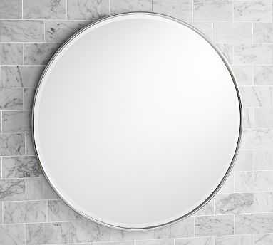 "Vintage Round Mirror, 30"", Polished Nickel - Pottery Barn"