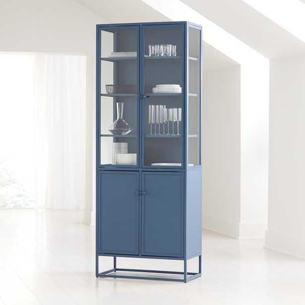 Casement Blue Tall Metal Cabinet - Crate and Barrel