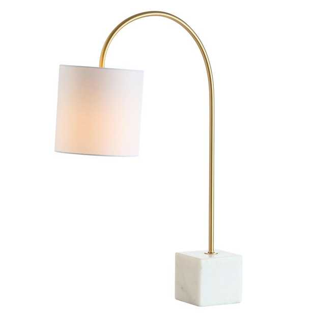 JONATHAN Y Fisher 25 in. H Marble/Brass Table Lamp - Home Depot