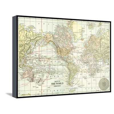 'World Map with Black Border' Graphic Art Print on Canvas - Wayfair
