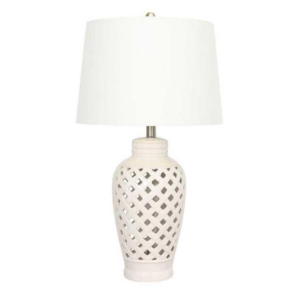 Fangio Lighting 26 in. White Ceramic Table Lamp with Lattice Design - Home Depot