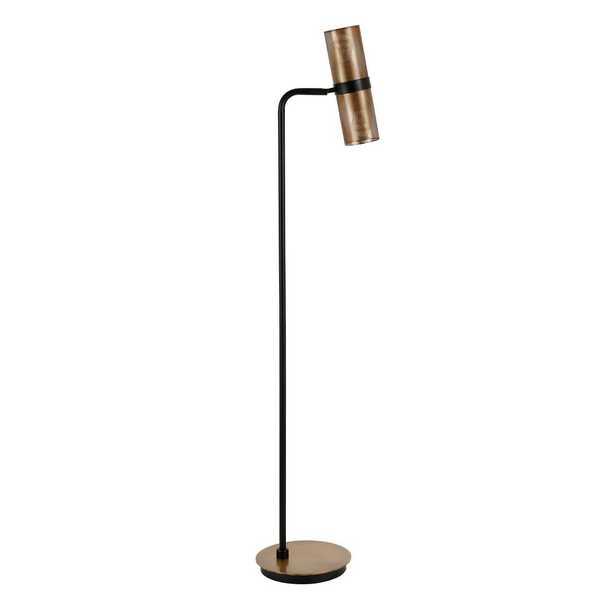 Hudson&Canal Zevon 62 in. Matte Black and Brass Floor Lamp - Home Depot