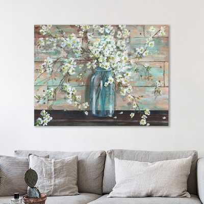 'Blossoms in Mason Jar' Painting Print on Wrapped Canvas - Wayfair