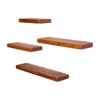 Janes Weathered Pine 4 Piece Floating Shelf Set - Wayfair
