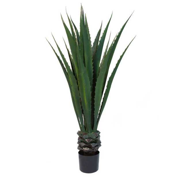 52 in. Giant Agave Floor Plant, Green And Brown - Home Depot