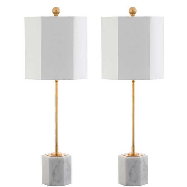 Safavieh Magdalene 29 in. White/Gold Leaf Marble Table Lamp (Set of 2) - Home Depot
