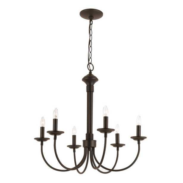 Bel Air Lighting Candle 6-Light Black Chandelier - Home Depot