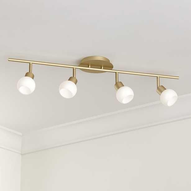 Pro Track Globe Brass 4-Light LED Plug-In Track Fixture - Lamps Plus
