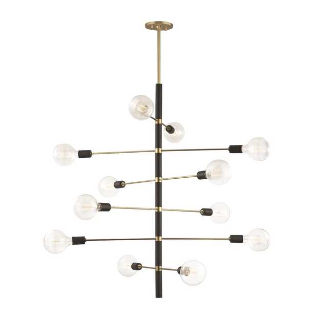 Mitzi by Hudson Valley Lighting Astrid 12-Light Aged Brass Chandelier with Black Accents - Home Depot