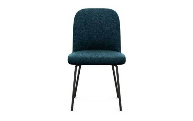 Dylan Dining Chair with Indigo Fabric and Matte Black legs - Interior Define