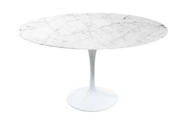 "Tulip Table Round - Carrara - 36"""" White Carrara Marble White - Rove Concepts"