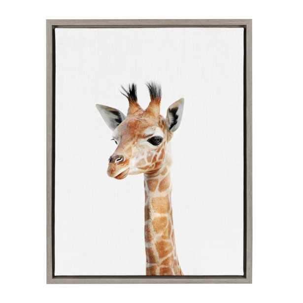 "Sylvie ""Animal Studio Giraffe"" by Amy Peterson Framed Canvas Wall Art, Gray - Home Depot"