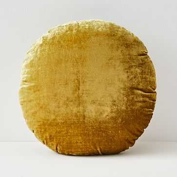 "Round Lush Velvet Pillow, 18"", Wasabi - West Elm"
