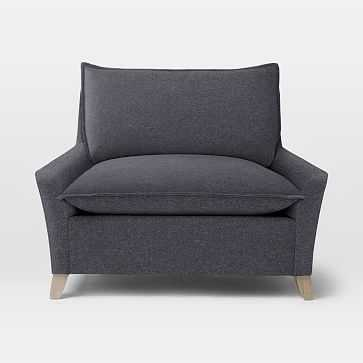 Bliss Down-Filled Chair-and-a-Half, Marled Microfiber, Granite - West Elm