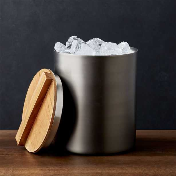Fenton Graphite and Wood Ice Bucket - Crate and Barrel