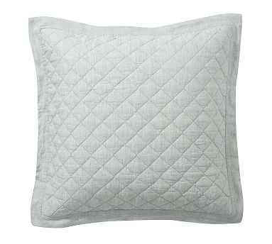 Belgian Flax Linen Diamond Quilted Sham, Euro, Mineral Blue - Pottery Barn