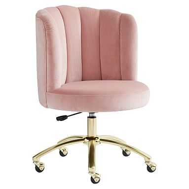 Channel Stitch Task Chair, Luxe Velvet Dusty Rose - Pottery Barn Teen