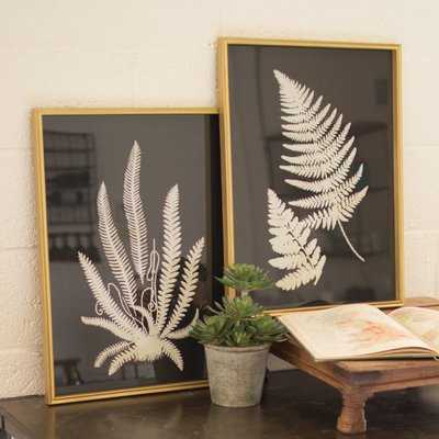 Inverted Fern Silhouette - 2 Piece Picture Frame Print Set on Wood - Birch Lane
