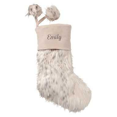 Snow Cat Faux-Fur Stocking - Pottery Barn Teen