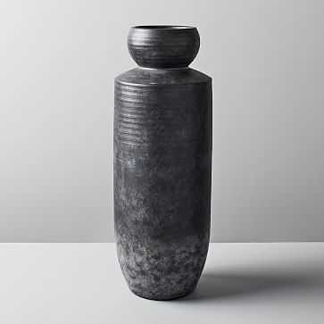 Rounded Terracotta Floor Vase, Tall, Black - West Elm