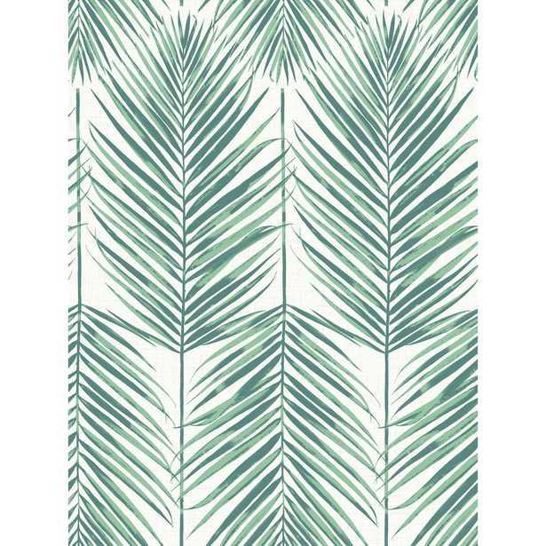 Seabrook Designs Paradise Tropic Midnight Palm Leaf Wallpaper, Tropic Green - Home Depot