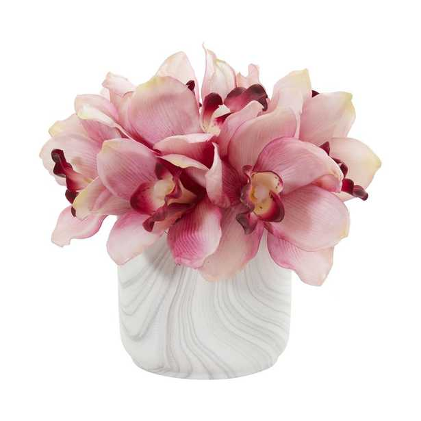 Nearly Natural Indoor Cymbidium Orchid Artificial Arrangement in Marble Vase - Home Depot