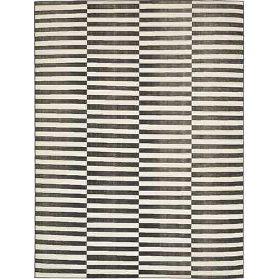 Wrought Studio Yarbrough Black Area Rug in Ivory/Black - 9x12 - Wayfair