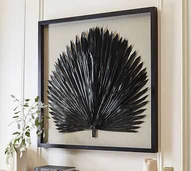 Palm Leaf Shadow Box Art, Black, Large - Pottery Barn