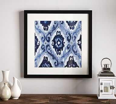 "Indigo Ikat Framed Print, Eclectic, 22 x 22"" - Pottery Barn"