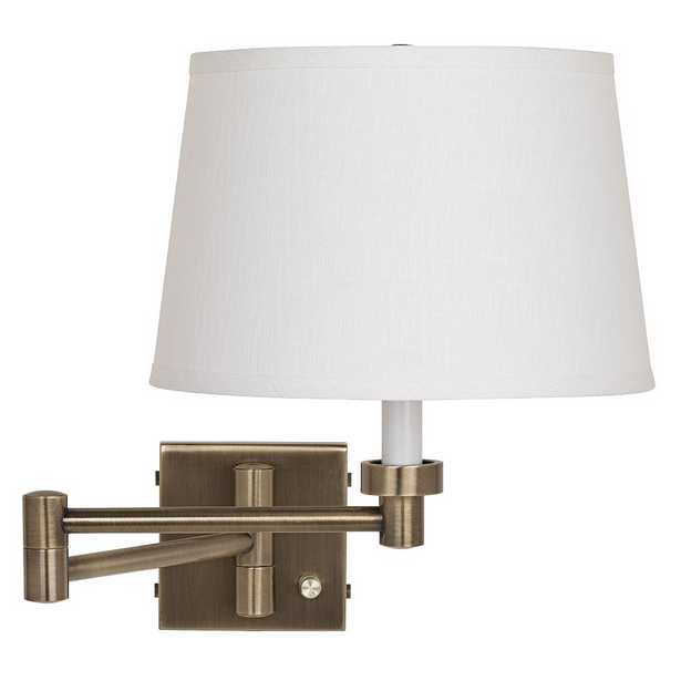 Antique Brass with White Linen Shade Plug-In Swing Arm Wall Lamp - Style # 17A71 - Lamps Plus