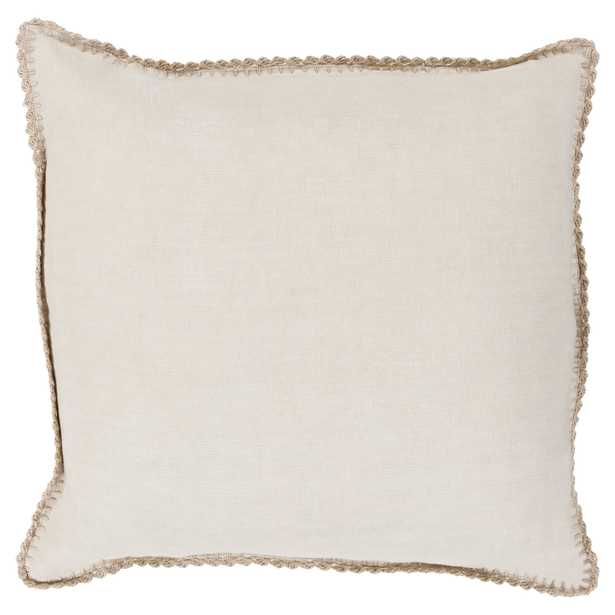 Effie Country Linen Crochet Beige Pillow - 18x18 - Kathy Kuo Home