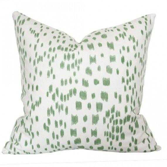 Les Touches Green - 17x17 pillow cover / pattern on front, solid on back - Arianna Belle
