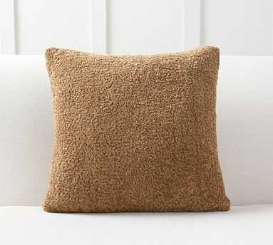"""Faux Fur Teddy Pillow Cover, 20"""", Tobacco - Pottery Barn"""