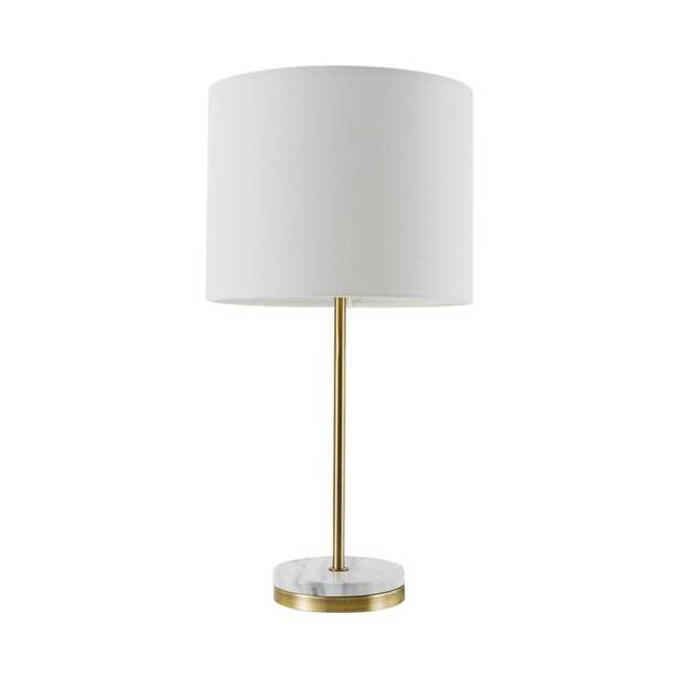 Globe Electric Versailles 19 in. Soft Gold Table Lamp with Faux Marble Accent - Home Depot