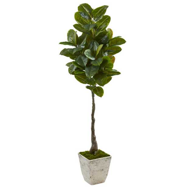 Nearly Natural 67 in. Rubber Leaf Artificial Tree in White Planter (Real Touch) - Home Depot