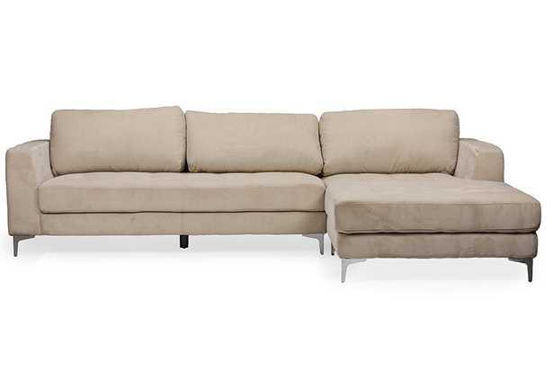 Baxton Studio Agnew Contemporary Light Beige Microfiber Right Facing Sectional Sofa - Lark Interiors