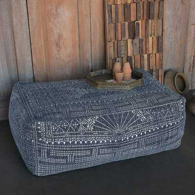 Rioux Indigo Batik Pouf, Rectangle - Wayfair