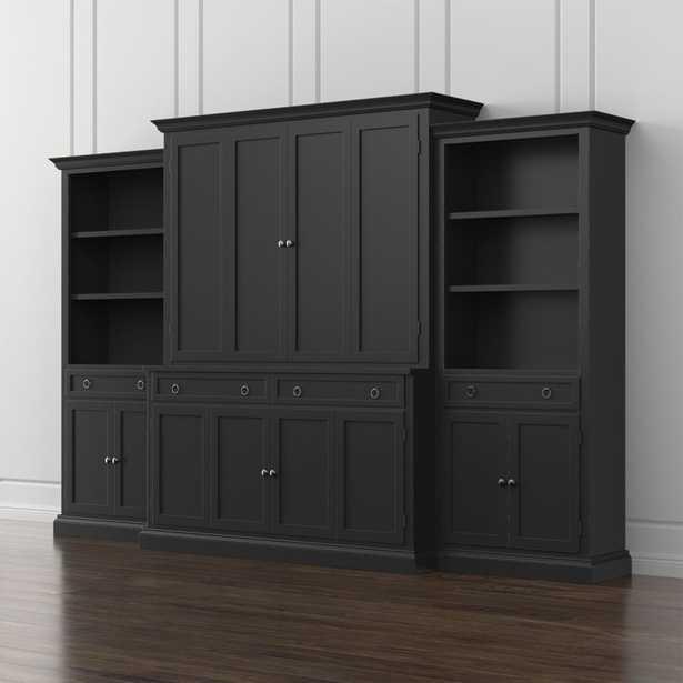Cameo 4-Piece Bruno Black Storage Bookcase Entertainment Center - Crate and Barrel