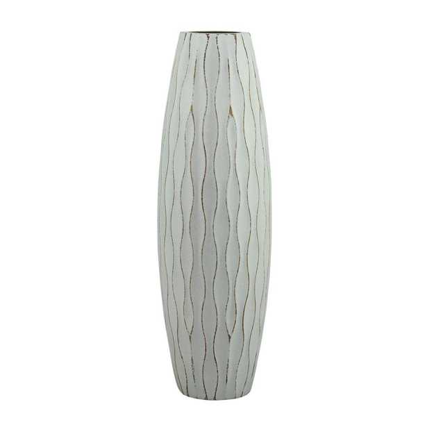 12 in. H Weathered Wood Decorative Vase in Pale Ocean, White - Home Depot