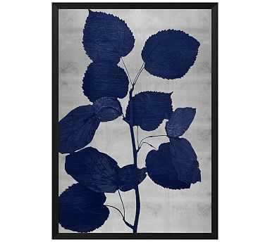 """Indigo Silver Leaf 1 Framed Print, 20 x 28"""" - Pottery Barn"""