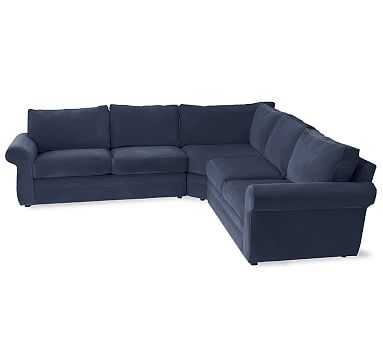 Pearce Roll Arm Upholstered 3-Piece L-Shaped Sectional, Down Blend Wrapped Cushions, Twill Cadet Navy - Pottery Barn