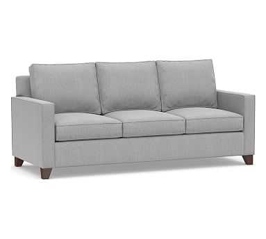 Cameron Square Arm Upholstered Queen Sleeper Sofa With Memory Foam Mattress, Polyester Wrapped Cushions, Sunbrella® Performance Chenille Fog - Pottery Barn
