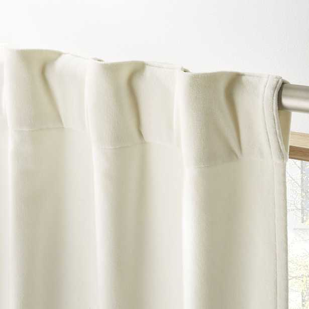 """Ivory Velvet Curtain Panel 48""""x96"""" - CB2"""